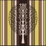 Abstract tree, vector illustration, vintage stylized drawing. Ornate tree with branches against the background of green, beige and. Brown stripes rectangles vector illustration