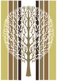 Abstract tree, vector illustration, vintage stylized drawing. Ornate tree with branches against the background of green, white and. Brown stripes rectangles royalty free illustration