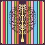 Abstract tree, vector illustration, vintage stylized drawing. Ornate tree with branches against the background of multicolor color. Ful stripes rectangles. For vector illustration