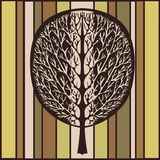 Abstract tree, vector illustration, vintage stylized drawing. Ornate tree with branches and crown foliage against the background o. F green, beige and brown vector illustration