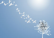 Abstract Tree with white birds Royalty Free Stock Photo