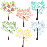Abstract trees. Collection of stylized seasonal trees for decor vector illustration