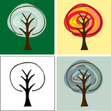 Abstract Trees. Set of four abstract tree illustrations for backgrounds, logos or icons Royalty Free Stock Photos