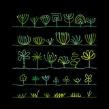 Abstract trees collection. Vector illustration stock illustration