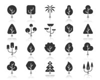 Abstract Tree black silhouette icons vector set. Abstract trees of different shapes icon set. Sign kit of nature bio forest. Eco plant pictogram collection vector illustration