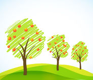 Abstract trees with fruits Royalty Free Stock Photo