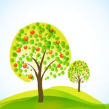 Abstract trees with fruits Royalty Free Stock Images