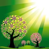 Abstract trees on green burst light background. Springtime flower trees on green burst light background Royalty Free Stock Photos