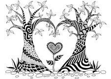 Abstract trees in heart shape. Line art design for coloring book Stock Illustration