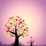 Abstract trees with hearts Stock Photography