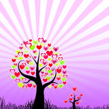 Abstract trees with hearts Royalty Free Stock Image