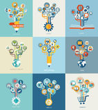Abstract trees with icons for web design. royalty free illustration