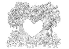 Free Abstract Trees In Heart Shape Line Art Design For Coloring Book Stock Photos - 83521713
