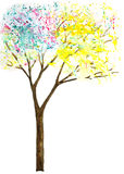 Abstract trees with leaves made of splashes. watercolor i Stock Photography