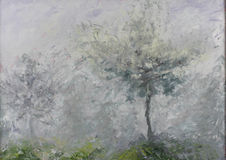 Abstract trees in the mist, oil painting Royalty Free Stock Photos