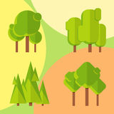 Abstract trees round flat style. Royalty Free Stock Photography