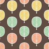 Abstract trees seamless pattern, vector illustration, stylized autumn forest, vintage drawing. Ornate tree trunks with branches an. D pastel green, yellow and stock illustration