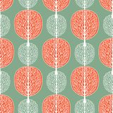 Abstract trees seamless pattern, vector illustration, stylized forest, vintage drawing. Ornate white tree trunks with branches and. Orange crown foliage on vector illustration