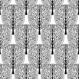 Abstract trees seamless pattern, vector illustration, stylized forest, vintage monochrome drawing. Ornate black tree trunks with b. Ranches white crown foliage stock illustration