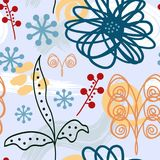 Abstract trendy floral seamless pattern. Flowers and watercolours brushstrokes painted by hand. Modern sketch, doodle. Blue, white, brown, green, red colours Royalty Free Stock Photos
