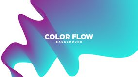 Abstract trendy geometric background with liquid gradient. Colorful dynamic curve wave. Modern motion banner. Vector. Illustration royalty free illustration