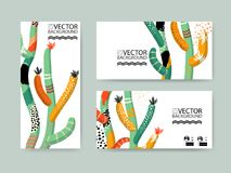 Abstract trendy illustration background, placard, floral stylized cactus succulent plant, style flat and 3d design elements. Uniqu. E art for covers, banners Royalty Free Stock Images