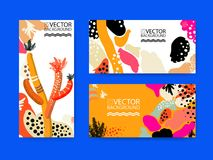 Abstract trendy illustration background, placard, floral stylized cactus succulent plant, style flat and 3d design elements. Uniqu. E art for covers, banners Stock Photos