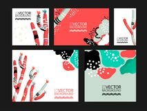 Abstract trendy illustration background, placard, floral stylized cactus succulent plant, style flat and 3d design elements. Uniqu. E art for covers, banners Royalty Free Stock Photography