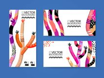 Abstract trendy illustration background, placard, floral stylized cactus succulent plant, style flat and 3d design elements. Uniqu. E art for covers, banners Stock Images