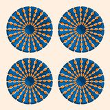 Abstract trendy round optical illusion, motion simulation. Creative vector illustration with orange ellipses on blue circle Royalty Free Stock Images