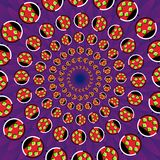 Abstract trendy round optical illusion, motion simulation. Creative vector illustration with ladybugs on violet petals Stock Images