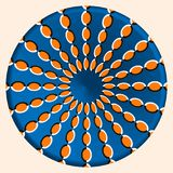 Abstract trendy round optical illusion, motion simulation. Creative vector illustration with orange ellipses on blue circle Stock Image