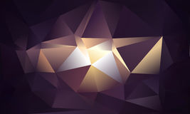 Abstract triangle background. Deep purple, white, gold colors. 10 EPS Stock Image