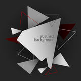 Abstract triangle background. Abstract background, grey and red triangles on dark Stock Photos