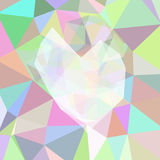 Abstract triangle background with heart. Pink palette Royalty Free Stock Photos