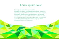 Abstract triangle green, yellow, blue background. Lorem ipsum stock vector illustration Royalty Free Stock Images