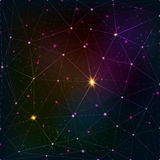 Abstract triangle grid on cosmic background Stock Images