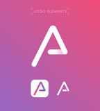 Abstract triangle letter A origami style logo template. Applicat Stock Photos