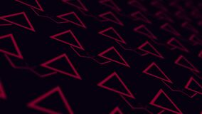 Abstract Triangle and Line Lighting moving red color on black, technology network digital data background concept design, animatio