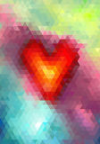 Abstract triangle mosaic heart on colored background Royalty Free Stock Image