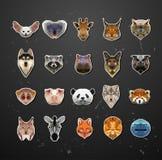 Abstract triangle polygonal animal set Stock Photography