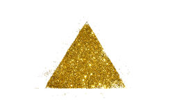 Abstract triangle or pyramid of golden glitter sparkle on white Royalty Free Stock Photo