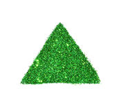 Abstract triangle or pyramid of green glitter sparkle on white background Royalty Free Stock Images