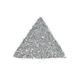 Abstract triangle or pyramid of silver glitter sparkle on white background Stock Photography