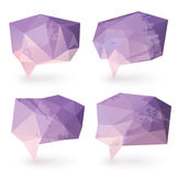 Abstract triangle speech bubbles. Textured, in pastel purple and pink colors Stock Photography
