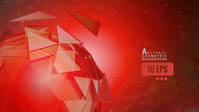 Abstract triangle sphere moving on red graphic BG Stock Photos