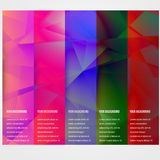 Abstract triangle template banner. Color set Stock Image