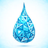Abstract triangles blue vector water drop Stock Images