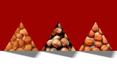 Abstract triangles full of apricot pits, hazelnuts and walnuts textures Royalty Free Stock Images
