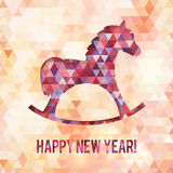 Abstract triangles horse new year vector card Stock Photo